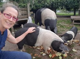 Kerris with the pigs