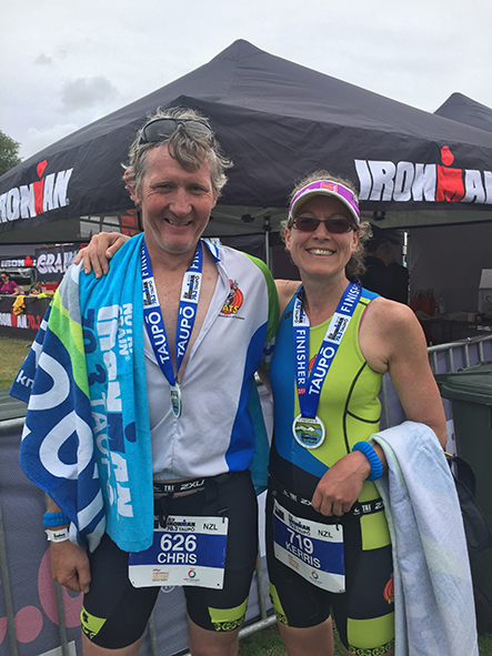 Chris & Kerris on completion of the Taupo Half Ironman