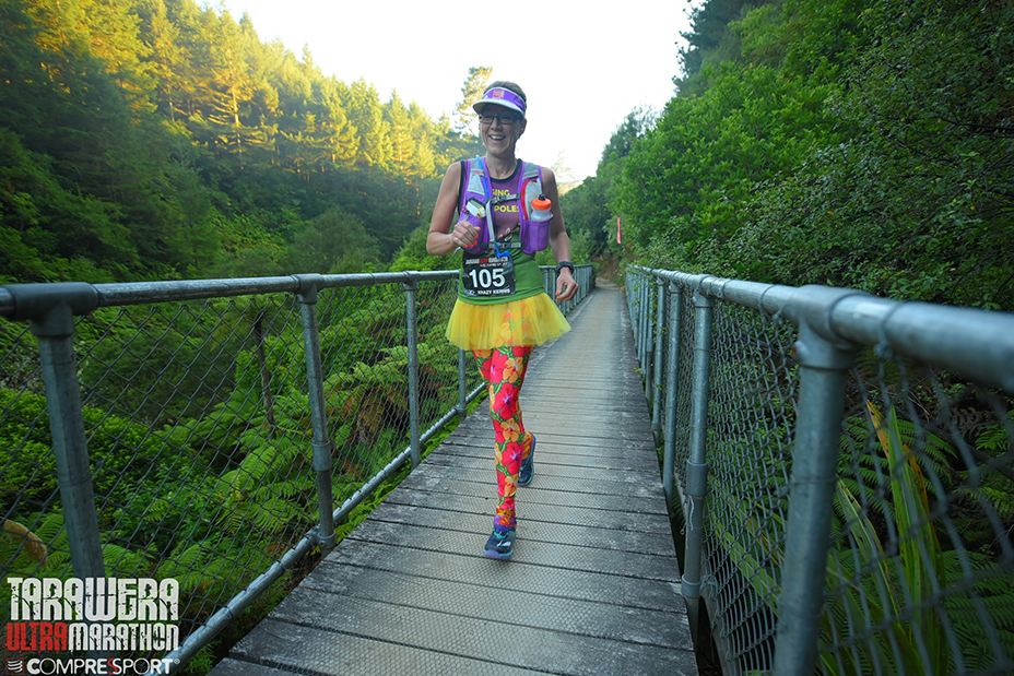 Kerris running the Tarawera 102km Ultra Marathon